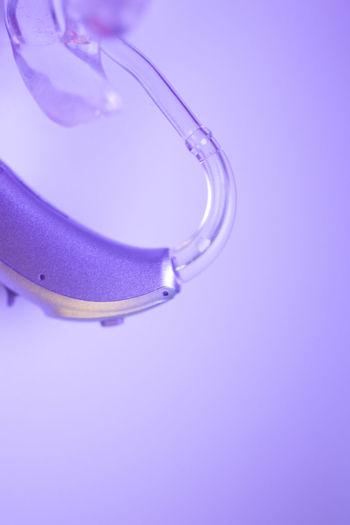 High angle view of purple glass