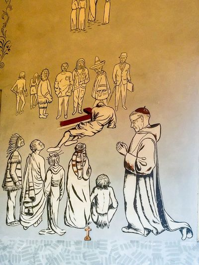 Clever Church Mural Church Chapel Mural Art Drawing Abbey Church Of The Holy Trinity Abbey Church New Norcia Western Australia Historic Wall Characters Astronaut Hippies Eskimo Indian Businessman Human Representation Figures Statement Visual Statements Expression Visual Art ArtWork Message