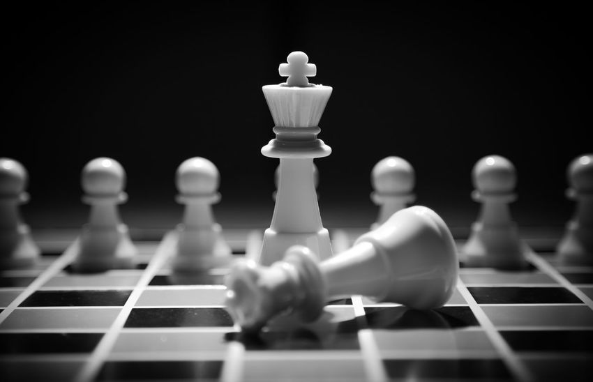 Board Game Challenge Checked Pattern Chess Chess Board Chess Piece Close-up Competition Conflict Indoors  Intelligence King - Chess Piece Knight - Chess Piece Leisure Games No People Pawn - Chess Piece Queen - Chess Piece Skill  Still Life Strategy White Color