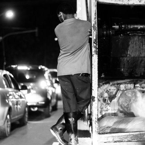 Not all superheroes save lives, not all superheroes need masksQndeverything The Street Photographer - 2016 Eyeem Awards Streetphotography Blackandwhite Nightphotography Workingclasshero Monochrome Photography