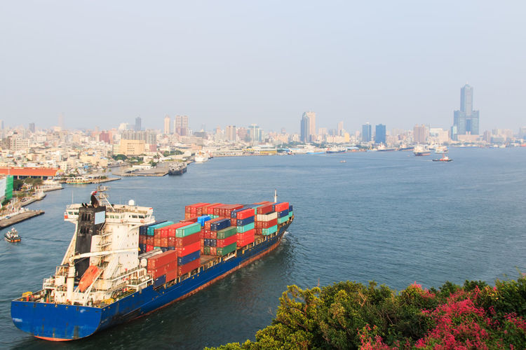 High angle view of cargo ship at sea