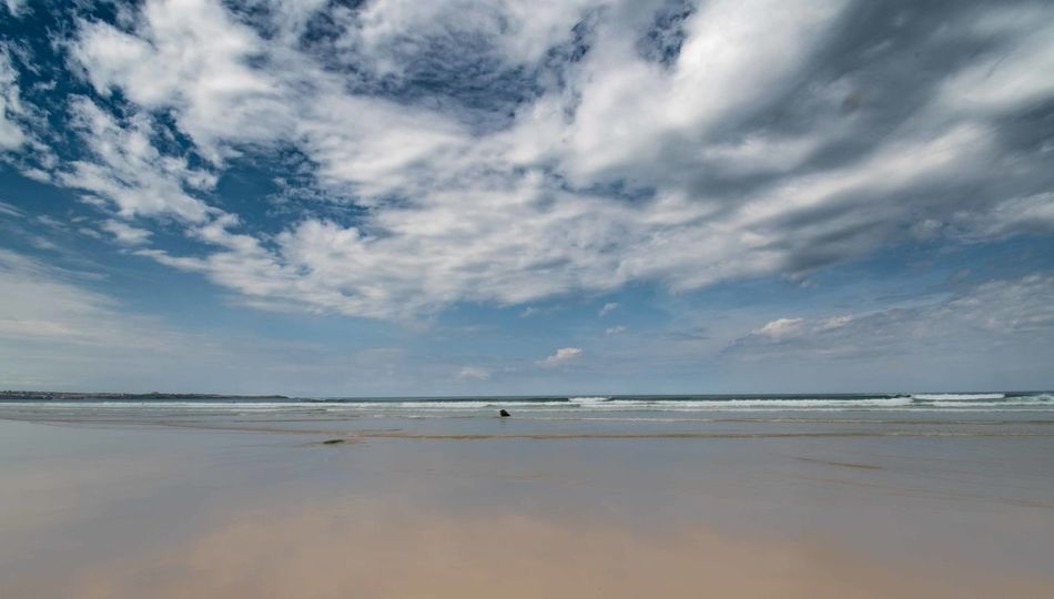 What A Sky Dramatic Sky Watergate Bay Beach Beauty In Nature Cloud - Sky Cornwall Day Horizon Horizon Over Water Idyllic Land Nature No People Non-urban Scene Outdoors Reflection Salt Flat Scenics - Nature Sea Sky Surfing Tranquil Scene Tranquility Water