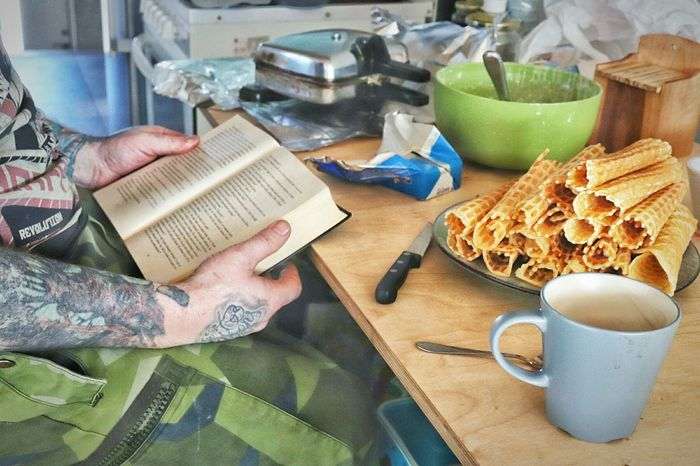 Waffle Sunday Waffle Waffle Time Sunday Book Reading Cooking Food Dad Multitasking Kitchen