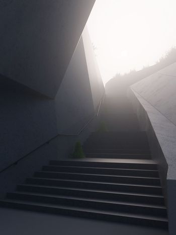 Steps Staircase No People Built Structure Steps And Staircases Day Architecture The Way Forward Nature Fog Foggy Mist 3D Architecture Blackandwhite Depression Melancholy Mood The Graphic City
