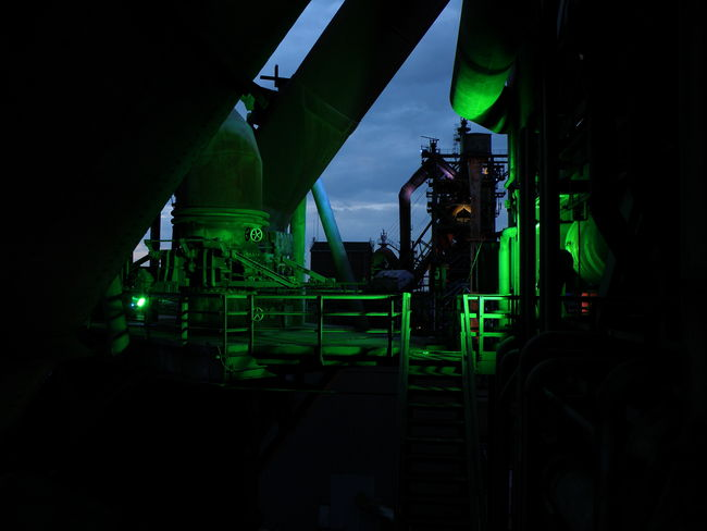 Landschaftspark Duisburg-nord by night Industry Neon Nightphotography Surreal Urban Technology Green Color