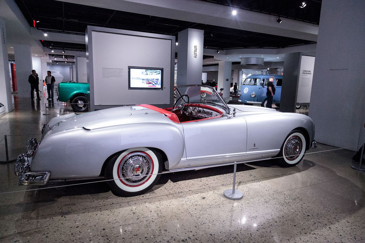 Los Angeles, CA, USA - March 4, 2017: Silver 1953 Nash-Healey convertible by Pinin Farina from the collection of Ray Scherr at the Petersen Automotive Museum in Los Angeles, California, United States. Editorial only. 1953 Antique Antique Car Car Classic Car Convertible Healey Nash Nash-Healey Old Old Car Petersen Automotive Museum Silver Car Sports Car Transportation