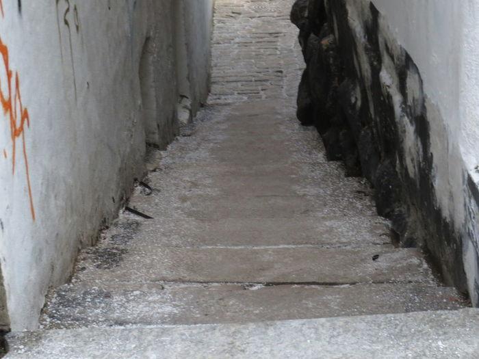Narrow footpath amidst old wall