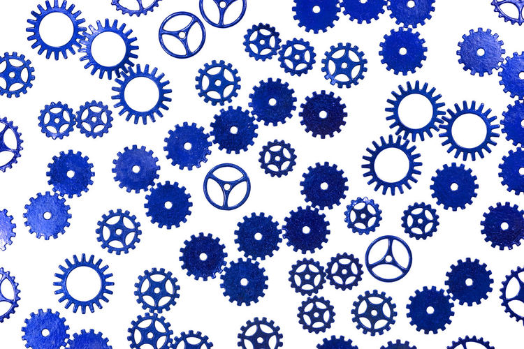 gears Abundance Backgrounds Blue Circle Close-up Design Directly Above Floral Pattern Full Frame Gear Geometric Shape Healthcare And Medicine Indoors  Large Group Of Objects Nature No People Pattern Shape Steampunk Still Life Studio Shot White Background White Color