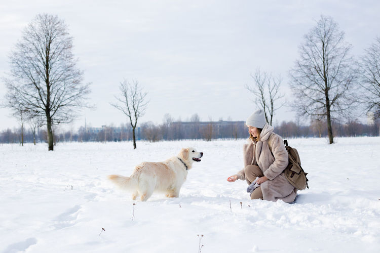 View of dog on snow covered field