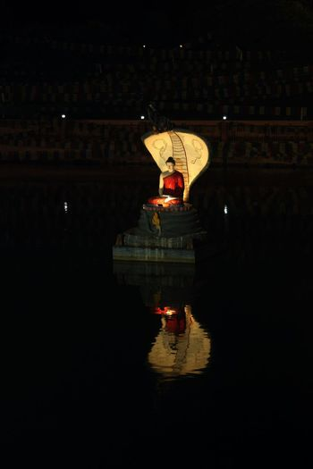 Buddha in water pool Night Illuminated Reflection Building Exterior No People Waterfront Built Structure Nature Architecture City Buddha Statue Buddha Enlightenment Travel Destinations Connection Lighting Equipment Travel