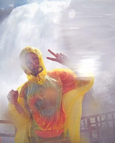 Waterfall Peace ✌ Peace Sign  ✌ Tie Dye Niagara Falls Getting Wet Wet Water Cool Down Chill Out Summer Adventure Splash Go Pro Poncho Raincoat Sunny Day Having Fun Smile Happy Moisture