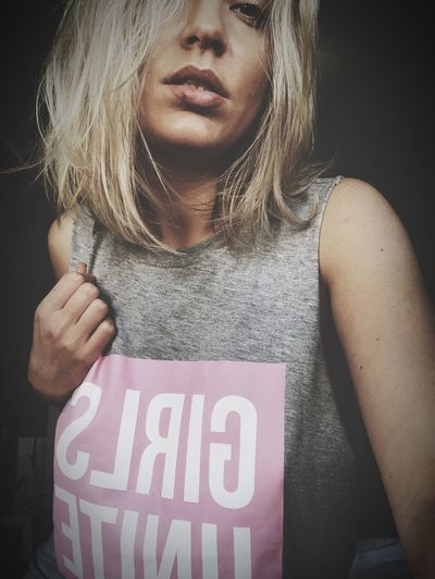 Girls Unite One Person Front View Text Young Adult Western Script Casual Clothing Lifestyles