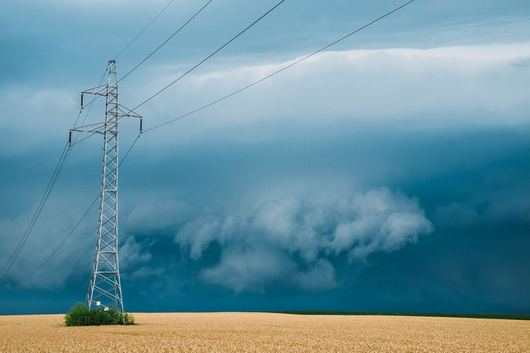 Beauty In Nature Cable Cloud - Sky Connection Electricity  Electricity Pylon Environment Field Fuel And Power Generation Land Landscape Nature No People Outdoors Power Line  Power Supply Scenics - Nature Sky Technology Tranquil Scene