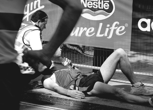 Collapse Exhausted Exhausted Runner Exhaustion Help London Marathon Rescue Rural Scene St John's Ambulance The Photojournalist - 2017 EyeEm Awards Water