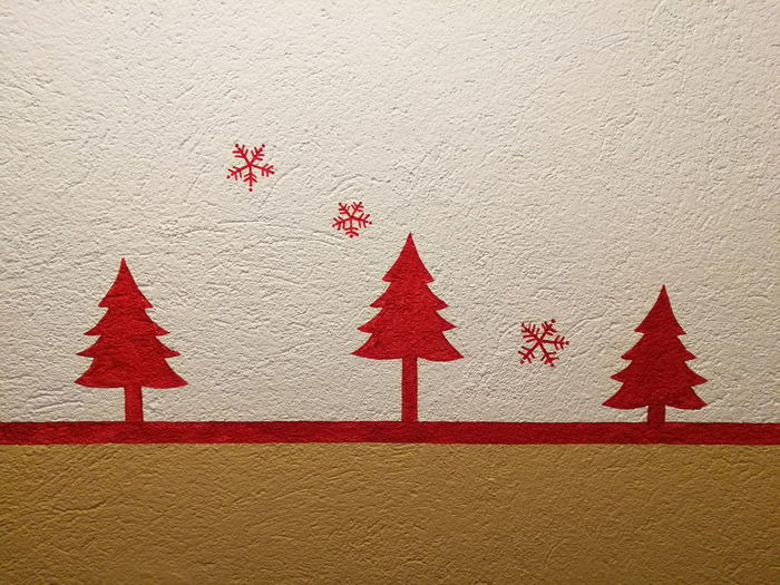Winter mark Winter Mountain Mark Indoors  Close-up Architecture Red Red Color Draw Drawing Wall