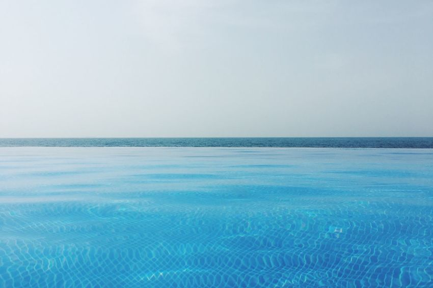 Blue. Sea Horizon Over Water Scenics Water Tranquil Scene Nature Tranquility Beauty In Nature Clear Sky Dubai