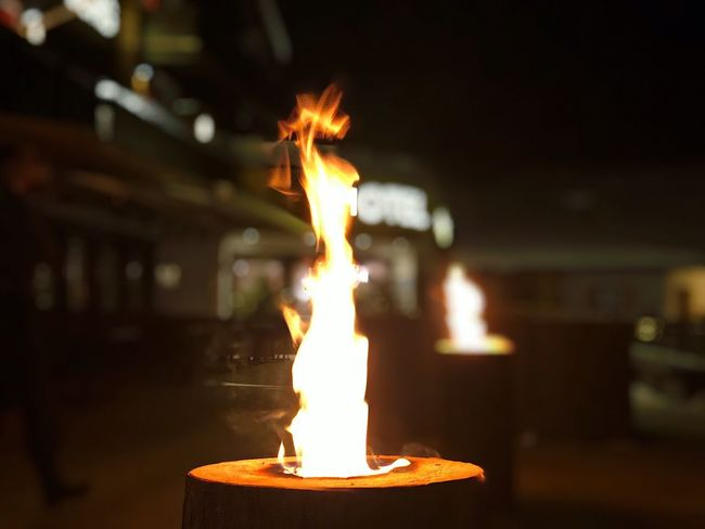 Flame Burning Night Focus On Foreground No People