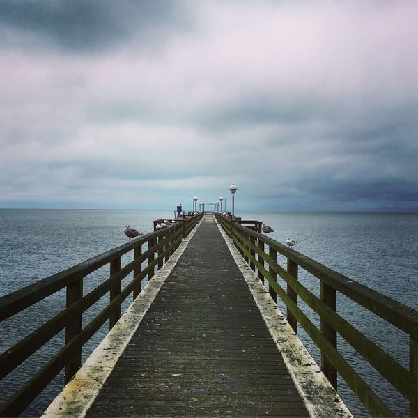 Moody Wheater. Baltic Sea Beauty In Nature Bridge Cloud - Sky Day Germany Horizon Over Water Mood Nature No People Ostsee Outdoors Pier Railing Rügen Rügen Lovers Scenics Sea Sea Gull Sky The Way Forward Tranquil Scene Tranquility Vanishing Point Water