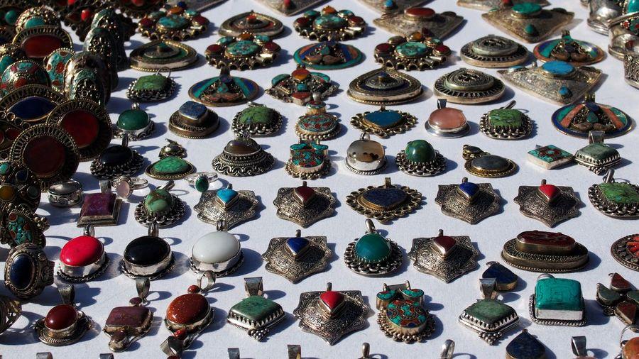 Full Frame Shot Of Various Gemstones At Flea Market