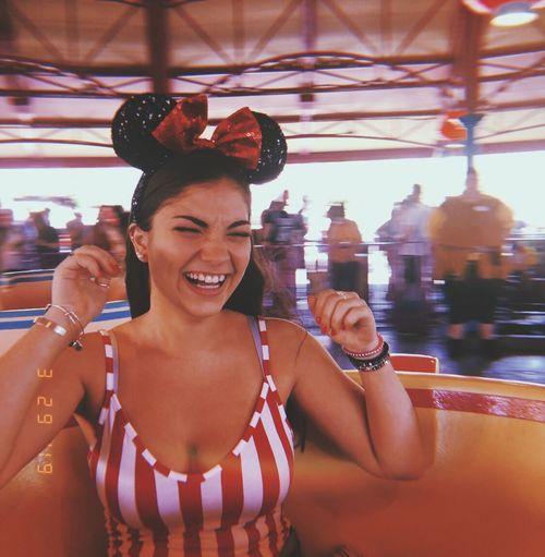 Disney Striped Amusement Park Minnie Mouse Selfie ✌ TeaCup Alice In Wonderland DisneyWorld Smiling Happiness Portrait Lifestyles People Clothing
