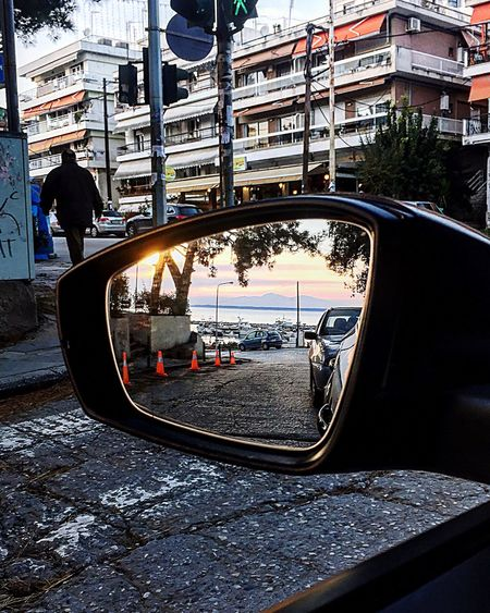 Greece 🇬🇷 Transportation Land Vehicle Car Mode Of Transport City Side-view Mirror Reflection City Life Outdoors