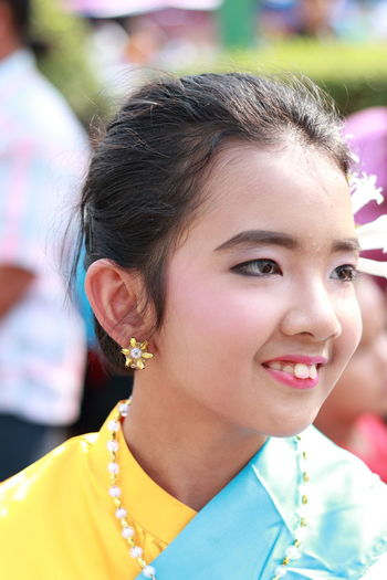 Happiness Thai Girl Thailand Culture Traditional Clothing Adult Beautiful Woman Beauty Day Earring  Girl Hair Hairstyle Happiness Headshot Identity Jewelry Leisure Activity Lifestyles One Person Outdoors Portrait Real People Smiling Thai Style Young Women