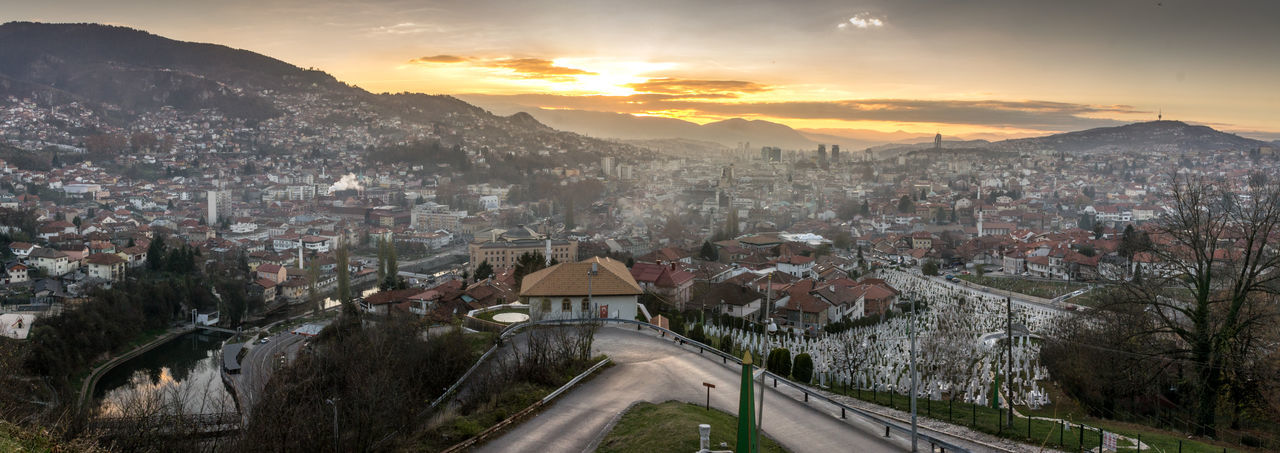 From high above Panorama Cityscape Sunset Sarajevo Bosna I Hercegovina Bosnia And Herzegovina TOWNSCAPE Architecture Sky City Cloud - Sky Nature Autumn Residential District High Angle View Tree Road Building Exterior