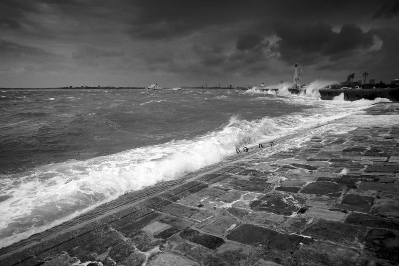 A Touch Choppy Water Sea Wave Sky Motion Cloud - Sky Nature Scenics - Nature Beach Horizon Horizon Over Water Power In Nature Flowing Waves Blackandwhite Black And White Weather