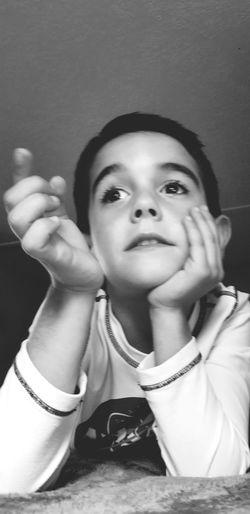 Portrait Child Headshot Childhood Girls Looking At Camera Close-up Thoughtful Monochrome