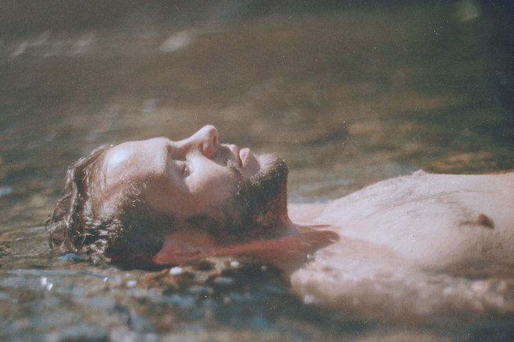 sweet lover. Kodak Portra Oldcamera Film Photography Analogue Photography Portrait My Love Nikonf Argentic Nikon Young Adult Men Nature Grain Underwater Close-up Swimming Adults Only Travel Summertime Water Outdoors Pays Basque River Calm The Portraitist - 2018 EyeEm Awards
