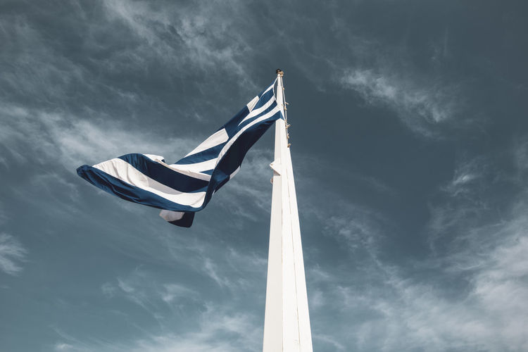Acropolis Athens Greece Acropolis Patriotism Low Angle View Sky Cloud - Sky Flag Wind Nature Pole Day Environment Waving No People National Icon Independence Pride Outdoors Striped Emotion Sailboat
