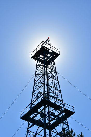 Low Angle View Of Silhouette Oil Rig Against Clear Sky