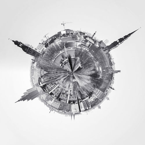 Little planet 360 degree sphere. Panoramic view of Riga city. Latvia 3 Dimensional 360 Degree Altered Image City Cityscape Latvia Old Town Panorama Panoramic Skyline Sphere TOWNSCAPE Architecture Black And White Building Exterior Built Structure Digitally Generated Image Landscape Planet Riga Three Dimensional Three Dimentional Photography Urban Landscape Urban Skyline World