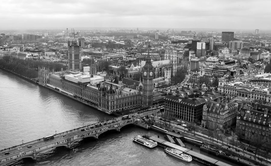 Architecture Black And White Bridge - Man Made Structure Building Exterior City Cityscape Clock Tower Cultures Day EyeEm Best Shots London No People Outdoors River Sky Travel Destinations B&W Magic