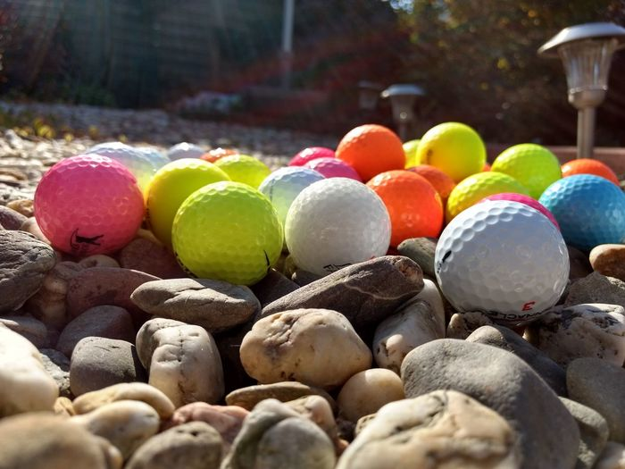 Close-up of multi colored pebbles