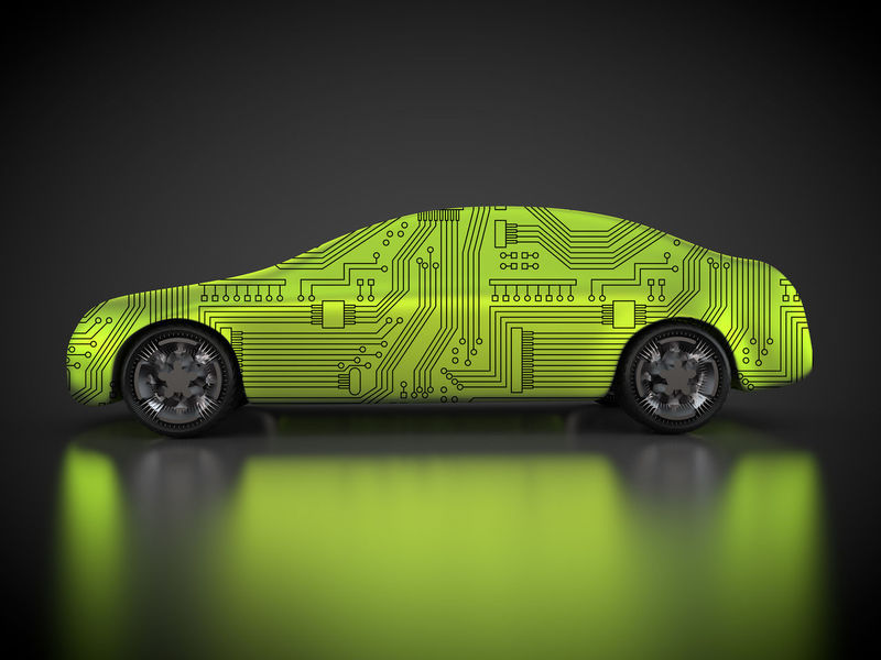 green car technology 3D 3d Rendering Green Reflection Tech Technics Wheel Auto Autobody Black Background Car Carbody Circuit Board Rendering Technical Technological Technology Vehicle Wheels