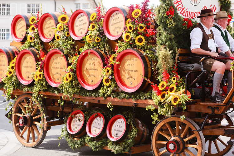 Rosenheim, Germany - September 4, 2016: trailer with horses of Flötzinger brewery at Thanksgiving Parade in Rosenheim / Germany Autumn Festival Bavaria Beer Beer Kegs Celebration Flötzinger Holiday Horses Machine Thanksgiving Transportation Working Barrels Brewery Carriage Carriage Ride Draft Horses Germany Horse Team Mammal Pageant Parade Rosenheim Superb Dishes Traditional