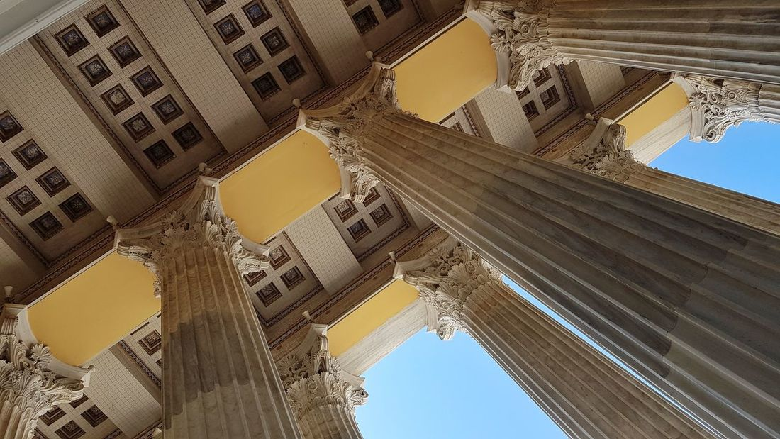 Neoclassical Architecture Neoclassical Architecture Buillding Columns Entrance Low Angle View Marble City Ancient Civilization History Architecture Built Structure
