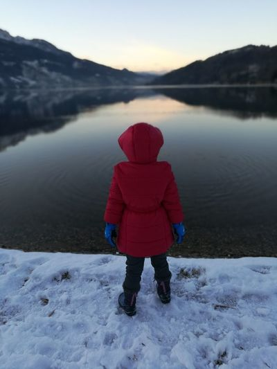 #kids #Lake #Mountains #mountain Lale #Caldonazzo #Winter #red Lake Mountain One Person Winter Snow Hiking Reflection Water Nature Adventure Landscape Cold Temperature People Red Beauty In Nature