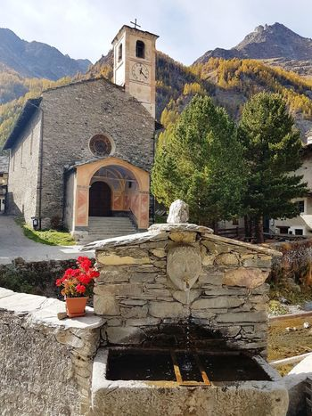 Piedmont Italy Valle Varaita Mountain Village Village Church Stone Fountain Stone Buildings Mountain Flower Architecture History Built Structure Building Exterior No People Day Outdoors Sky
