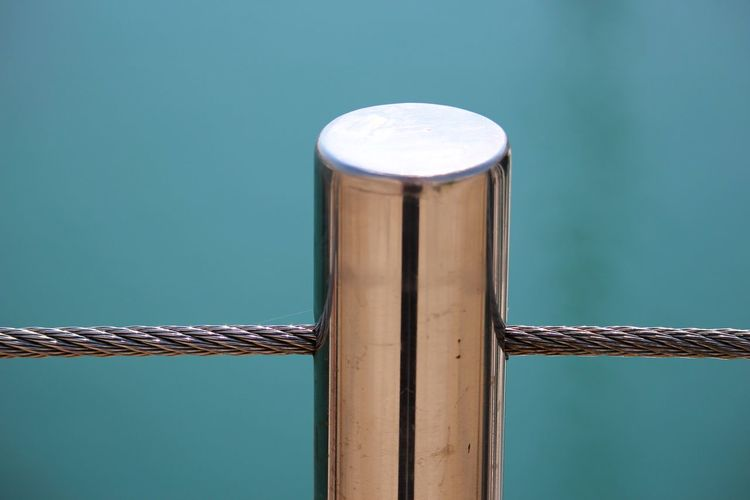 Close-up of steel bollard