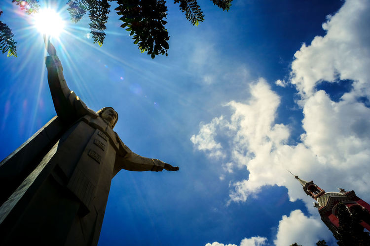 i'm the light Church Mr Jack Ray Blue Built Structure Cloud - Sky Day Light And Shadow Low Angle View No People Outdoors Sky Statue Tandinhchurch The Architect - 2018 EyeEm Awards