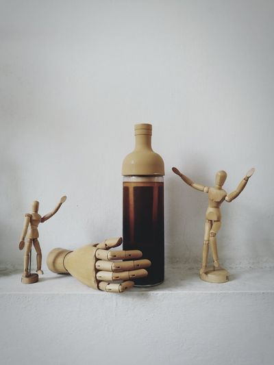 Bottle Figurine  Studio Shot Indoors  Wooden Coffee Cold Brewed Thailand Bangkok coffee from nan...northern east