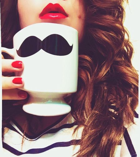 New Mug and Red Lips ?❤️ Mug Obsessed Check This Out Photographer Eye4photography  IPhoneography EyeEm Best Shots Red Lipstick Mustache Love