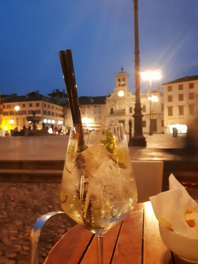 Night Illuminated Food And Drink City Drink Outdoors Aperitivo Time Cold Drink Hot Day City Square Outdoor Bar Outdoor Cafe Refreshing Drink Wine Not