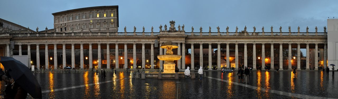 Panoramic View Of Bernini Colonnade Against Cloudy Sky