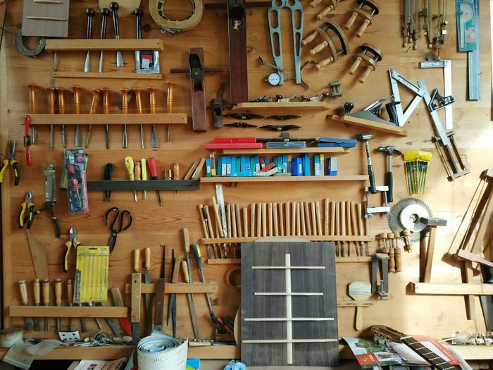 Work Tool Workshop Large Group Of Objects Indoors  Variation Hanging Choice Spanner Repair Shop No People Wood - Material Tools Tool Kit Wooden Wall Hand Made Handworking