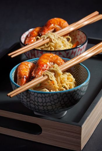 Instant noodles 🍝 😊 Chopsticks Noodles Food And Drink Japanese Food Food No People Indoors  Freshness Ready-to-eat Bowl High Angle View Studio Shot Healthy Eating Close-up Black Background Day Shrimps Seafood