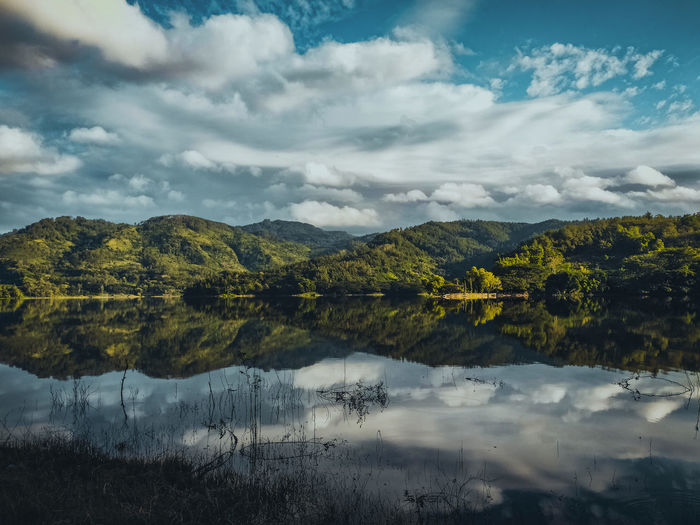 Reflection of the hills around the wonorejo reservoir