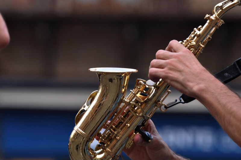 Musical Instrument Music Saxophone Musician Human Hand Arts Culture And Entertainment Performance Jazz Music One Man Only Playing Human Body Part Only Men Wind Instrument One Person Adult Indoors  Adults Only People Day